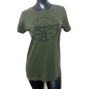 Sundance Olive Green Graphic Top Tee Film Reality